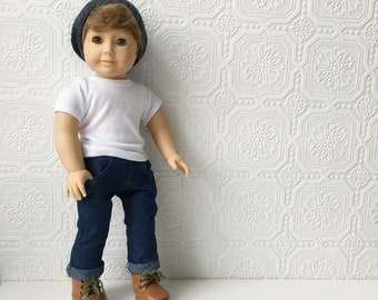 AG Boy Doll, Cool Boyfriend or Brother, Red Hair & Blue Eyes, 18 inch, Blue Jeans, Lace-up Boots and Beanie, OOAK, Pleasant Company, Vinyl
