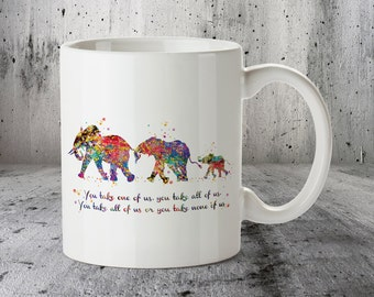 Elephant Family 3 Watercolor Art Print, Quote Mug, Valentines Day, Ceramic Mug, Watercolor Cup, Wedding Gift, Family, Kitchen Art, Funny Cup