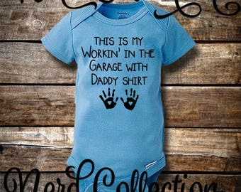 Baby Onesie Working In the Garage With Daddy Mechanic Tools Car Daddy's Little Helper New Dad Baby Shower Gift Clothing Gerber Pink Blue