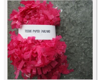Hot Pink Tissue Paper Garland, Wedding Garland, Baby Birthday Festooning Garland, 25 feet Paper Fringe, Birthday Pinata Paper