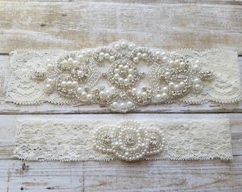 SALE - Wedding Garter, Bridal Garter, Garter Set - Crystal Rhinestone & Pearls - Style G8001