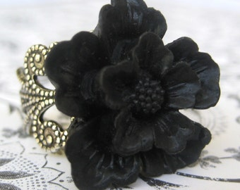 Cherry Blossom In Black Antique Silver Adjustable Statement Ring