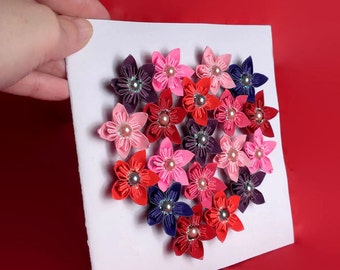 Flower greeting card - Kusudama flower card - Greeting card with flower heart - Mother's day card - Flower heart card - Valentine's day card