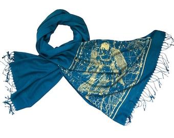 Virgo Star Map Scarf, Zodiac Constellation August birthday in September birthday astrology gift for astronomer gift linen-weave pashmina
