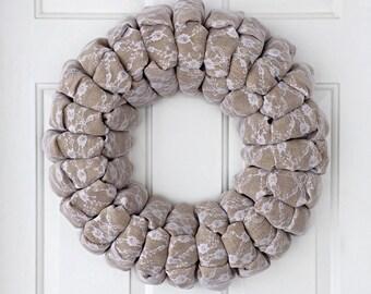 "20"" Wedding burlap and lace wreath, vintage wedding lace burlap wreath"