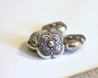 Etched Antique Silver Bead, metalized plastic, boho. hippie, necklace, bracelet, earrings