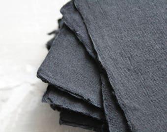 "2.375x3.375"" Black Handmade Cotton Rag Paper"