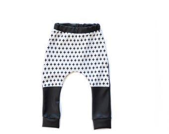 Faux leather monochrome harem pants - urban kids clothes - black and white pants - kids leggings