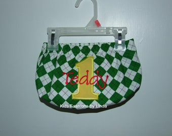 Personalized Dark Green Argyle with Yellow Number /Red Name Diaper Cover