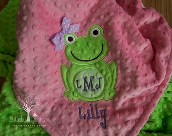 Frog Personalized Minky Baby Blanket, Personalized Minky Baby Blanket, Personalized Baby Gifts, Frog Appliqued Minky Baby Blanket