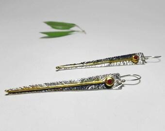 Spike Earrings, Long Dangle Earrings Evening, Long Triangle Earrings, Long Dangle Earrings, Long Drop Earrings Silver, Silver 999 Earrings