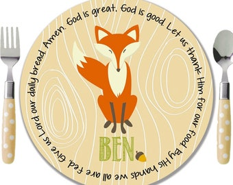 Personalized Melamine Plate - Personalized Kids Plate - Personalized Childrens Plate - Woodland Animals Plate - Woodland Fox Plate