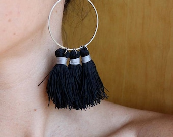 Tassel Earrings/ Boho Earrings/ Festival Earrings/ Black Tassel Earrings/ Pom Pom Earrings/ Black Dangle Earrings/ Tassel Hoop Earrings