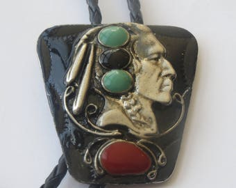Southwestern Silver Tone  Turquoise Coral  Jet  Native American Indian Chief  Bolo Tie IC Lot N