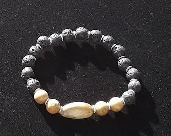 Lava Bead Semi Precious Jasper Grain Stone Bracelet