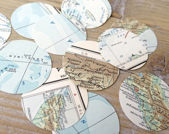 Upcycled Vintage world map confetti buttons