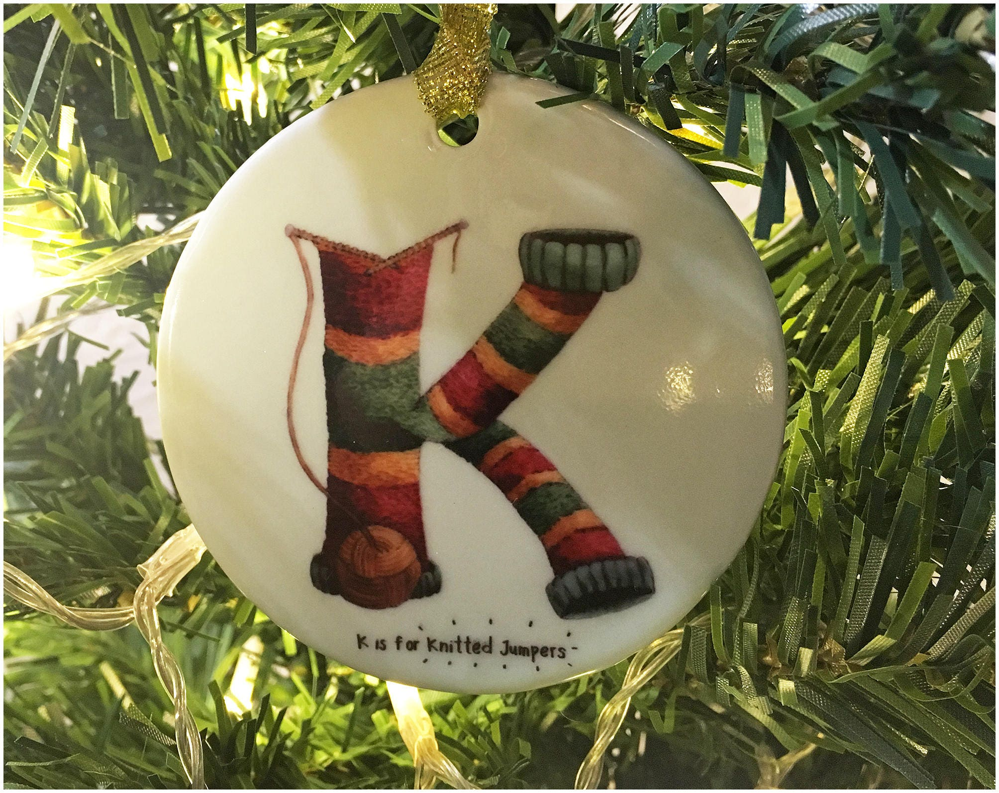 K is for Knitted Jumpers Christmas Tree Ornament