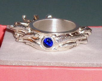 Handmade Pure Silver 999 Ring Bezel Set Sapphire