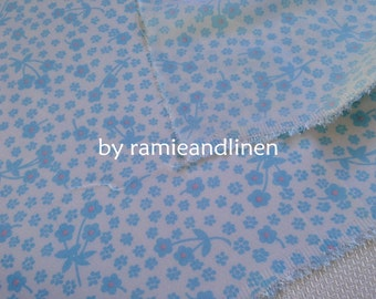 "silk fabric, 21m/m stretch double georgette silk fabric, small blue floral on cream, dress fabric, half yard by 39.5"" wide"