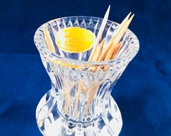 Vintage Genuine Lead Crystal Toothpick Holder