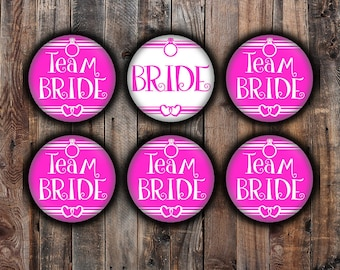 Hot pink Bride and Team Bride pins, 2.25 inch, for bachelorette, shower, wedding