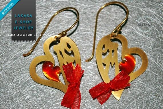 Heart Earrings Red Enamel Sterling Silver 925 Handmade Jewelry Best Gift Ideas for her Valentine Day Anniversary Woman Love Girlgriend Wife