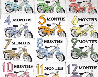 Colorful Moped Monthly Baby Onesie Set, 12 Month Set, Best baby shower gift