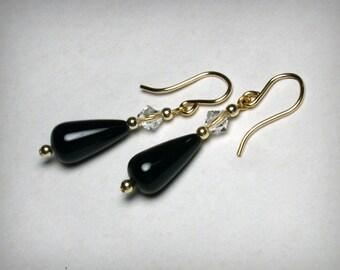 Genuine Black Onyx  Earrings,  Swarovski Crystal Earrings, 14K Yellow Gold Filled, Black Earring, Black Onyx Earring, Dangle Earrings, Black
