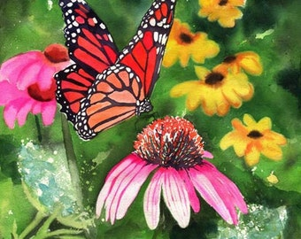 Flower Butterfly Cone Flower Print of an Art watercolor painting