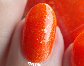 Oriole - 15 ml - carrot orange jelly with gold shimmer and flakies - indie polish by ALIQUID Lacquer
