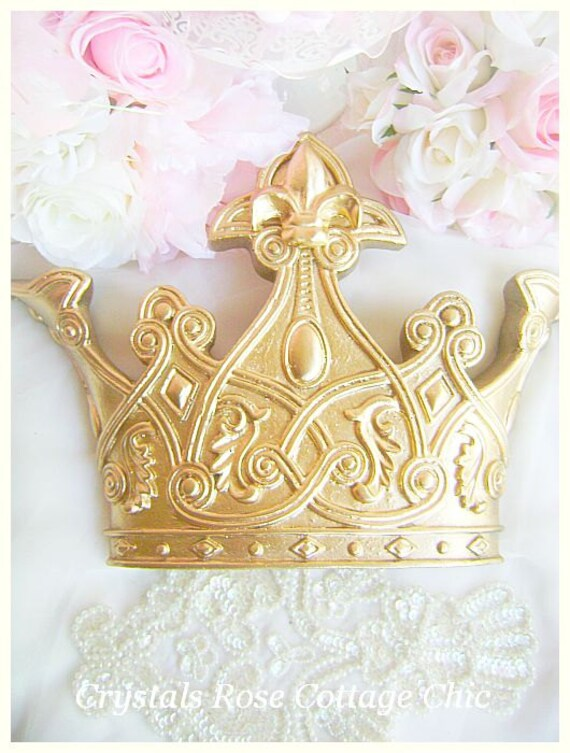 Ornate Gold Fleur De Lis Bed Crown Canopy Set Prince / Princess Decor Color Choices Baby Boy Girl Nursery Girl Teen Girl Womens Bedroom & Ornate Gold Fleur De Lis Bed Crown Canopy Set Prince /