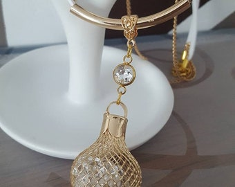 Necklace white and gold, rhinestones and faux leather tassel
