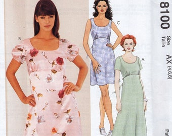 Free Us Ship Sewing Pattern Retro 1990s 90's McCall's 8100 Empire Dress Scoop Neck Sleeve Variations UNCUT 8 10 12 Bust 31.5 32.5 34 Uncut