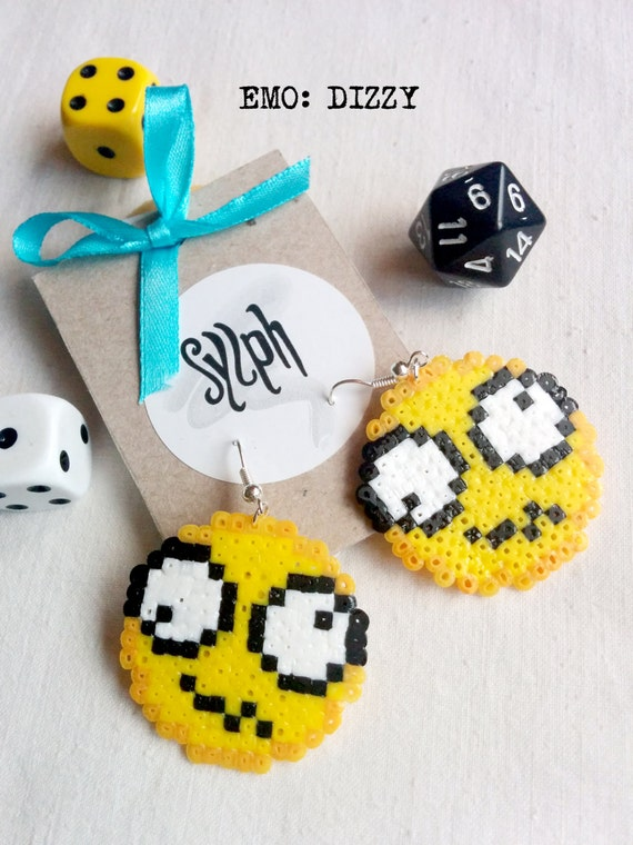 8bit Dizzy emoticon earrings showing off that weird and odd feeling of confusion or hangover after a long partynight made of Hama Mini beads