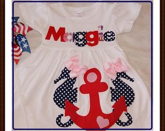 Anchor Dress Girls, Seahorse Dress for Girls, Toddler Nautical Dress, Summer Dress for Girls, Anchor Dress Toddler Girls, Beach Dress Girls