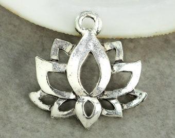 15%OFF Lotus Flower Charm Meditation Zen Charms Yoga Namaste Boho Lotus pendant Antique Silver lead free Pewter Made in USA 19x16mm 2pcs
