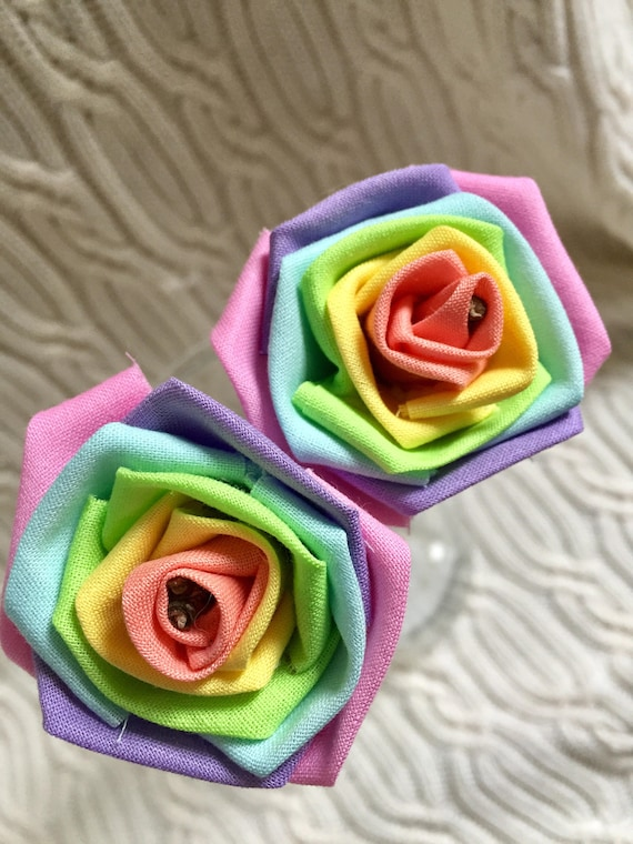 Pastel Rainbow Fabric Roses with Stems Pastel Flower Bouquet