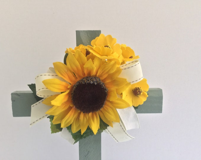 Cemetery cross, sunflower grave decoration, memorial cross, Floral Memorial, grave marker, in memory of, memorial flowers