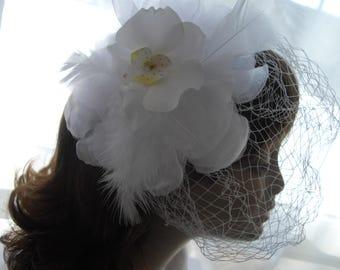 Birdcage Veil Beach Wedding Headpiece White Orchid Flower Fascinator Ready To Ship Feathers Organza Flower Pearls Handmade handcraftusa