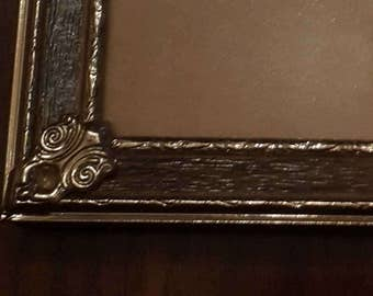 Gold and wood grain metal vintage standing easel photo frame