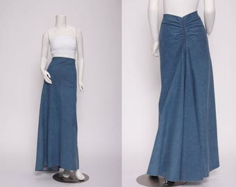 denim maxi skirt with fishtail bustle  vintage 1990s • Revival Vintage Boutique