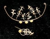 Art Noueau Tiara Corsage Antique Boutonniere Gold Wedding Garland Grecian Bridal Goddess Headdress Myrtle Leaves
