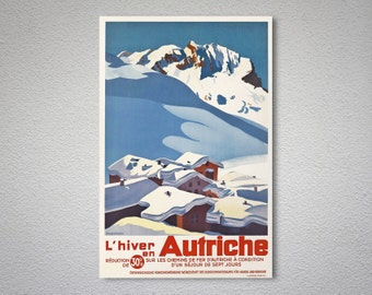 L'hiver Autriche Travel Poster - Poster Print, Sticker or Canvas Print / Gift Idea