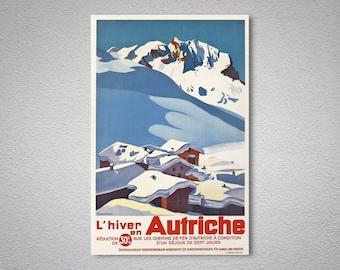 L'hiver Autriche voyage Poster - affiche, autocollant ou impression sur toile / idée cadeau