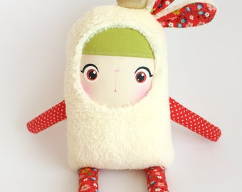 Bunny Doll Princess Margo/ Soft Doll Bunny/ Stuffed Bunny/ Red Bunny/ Princess Doll