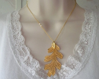 """Vintage 24K Gold Dipped Leaf Real LACY OAK LEAF Dipped in 24K Yellow Gold Pendant 2-5/8"""" x 1-1/4"""" Chain Not Included"""