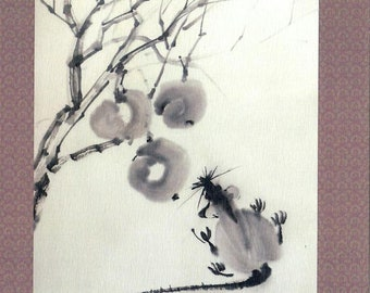 The Rat and apples. Sumi-E postcard