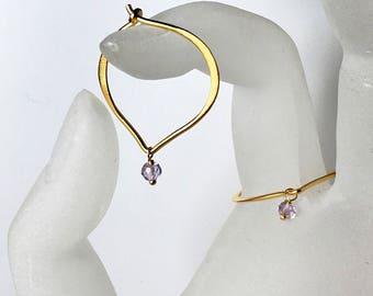 Amethyst Hoops Gold Vermeil Ear Wires, Gemstone Earrings