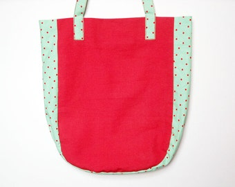 Red bag, dot bag, one of a kind, shoulder bag, tote bag, recycled bag, upcycled fabric, sustainable.