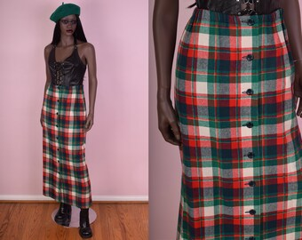 70s Button Down Plaid Wool Skirt/ US 8/ 1970s